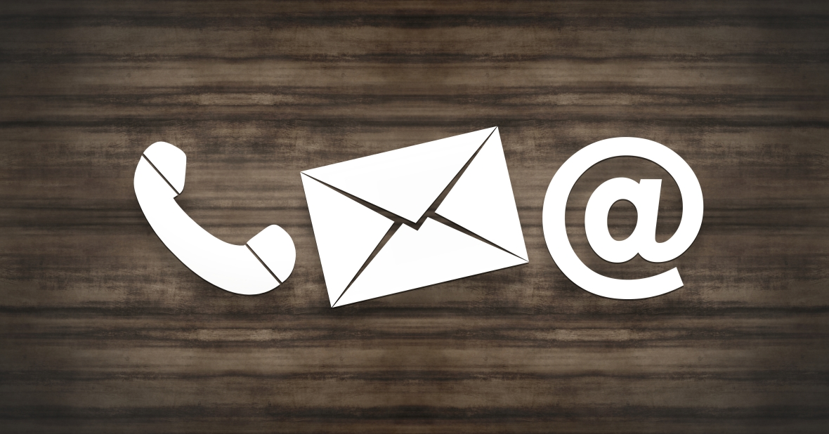 telephone, envelope, and email symbols